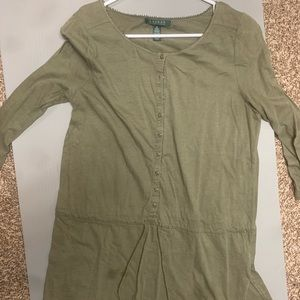 Vintage Ralph Lauren Olive Blouse (Medium)